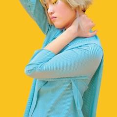 스트라이프 사선컷팅 블라우스 그린 stripe cutting blouse green