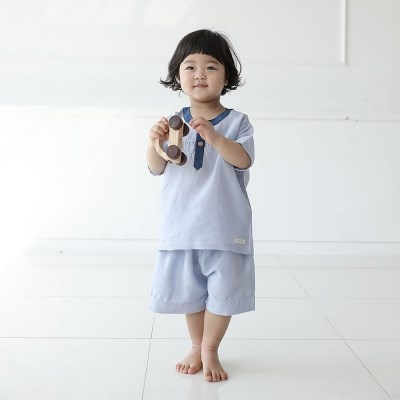 [풍기인견 평직]레브 블루 유아인견상하복
