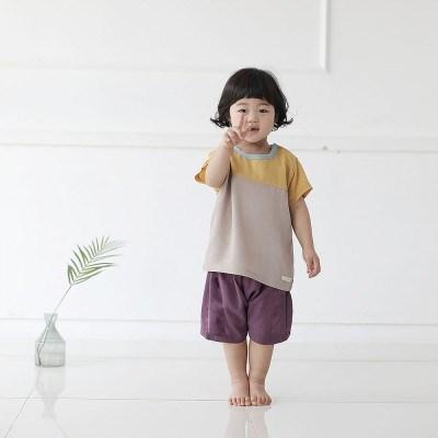 [풍기인견 평직]모모 옐로우 인견유아상하복