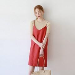 Girlish simple bustier one-piece