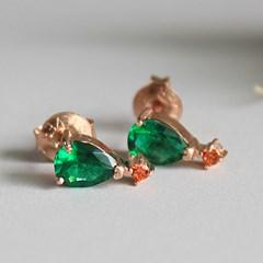 드롭 에멜 쿼츠 귀걸이 drop green quartz earring