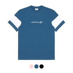 바리케이트 배색 자수 티셔츠 - 블루
