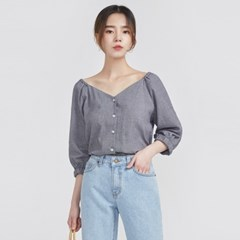 check banding off-shoulder blouse (2 colors)_(584348)