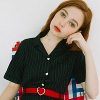 Heart Pin-stripe Shirts (4colors)