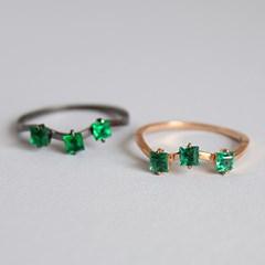 물결 에멜 쿼츠 반지 wave green quartz ring
