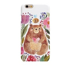 Watercolor Bear with Flower (HA-024B) Hard Case