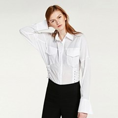 EYELET POCKET BLOUSE (IVORY)