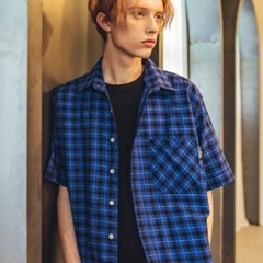 UNISEX 1/2 Check Shirt-Blue