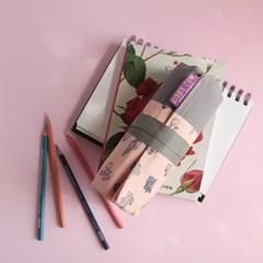 [깁다닷컴] 40색연필 롤케이스 - 핑크선인장