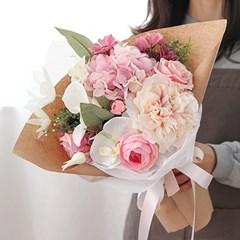 화이트난초 핑크 수국꽃다발_(491184)