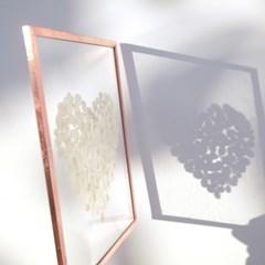 투명 압화 액자 - 프리저브드 수국 하트