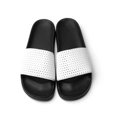 PIERCE HOLE SLIDE SANDAL - WHITE