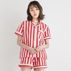 [w] Bold Stripe Short PJ Set Red