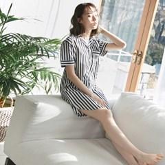 [w] Stripe Short Long Shirt Black