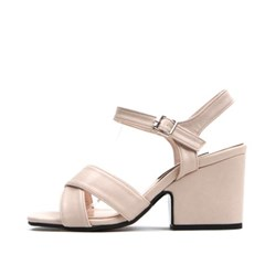 kami et muse X strap chunky heel sandals_KM17s198