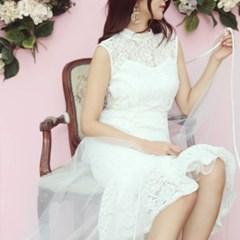 머메이드 하이넥 레이스 드레스 셀프웨딩 2부드레스