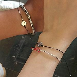실버 써클 이니셜 팔찌(커플 추천) silver circle initial bracelet