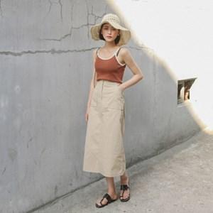 a-line banding long skirt