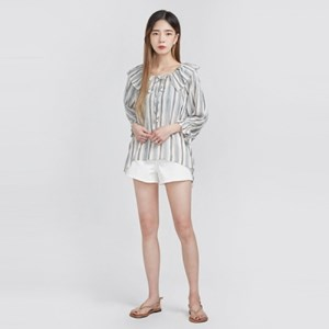 neck frill stripe blouse (2 colors)_(606438)