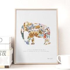 북유럽 갤러리액자 모자이크 코끼리 APB03