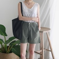Natural color linen banding shorts