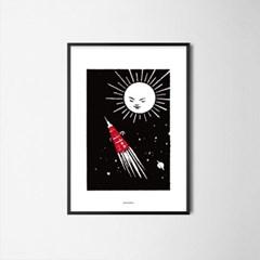 유니크 인테리어 디자인 포스터 M 로켓 앤 썬