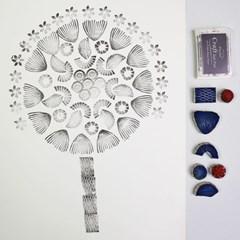 고무스탬프 패브릭포스터 플라워세트 나무
