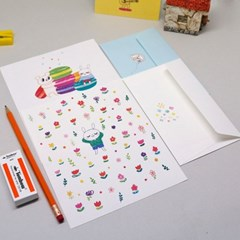 밀로 예쁜 캐릭터 편지지(컬러봉투) 16타입 1set