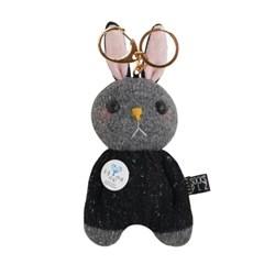 양말인형 삑삑이 토끼 래빗정 키링(블랙)