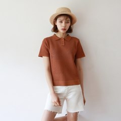 Mesh summer collar knit