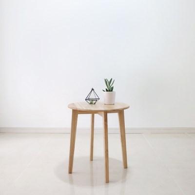 [스크래치] 원목 원형 사이드 테이블 2sizes