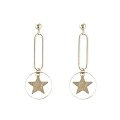[Treaju]Shiny star drop earring