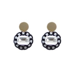 [Treaju]Matt black chain earring