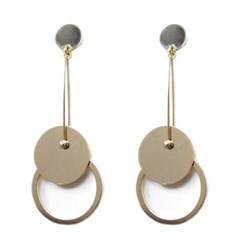 [Treaju]Three round gold drop earring