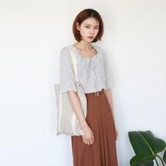 Stripe square-neck blouse