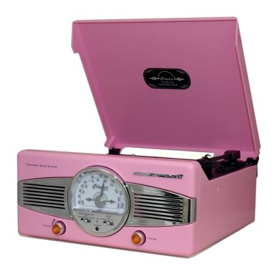 턴테이블 클래식 라디오 핑크