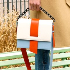 AGNES COLOR BLOCK CHAIN BAG aaa057u(Orange / Ivory)