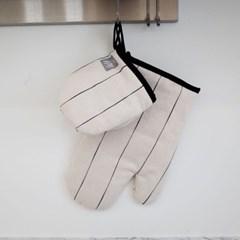wuseoul(더블유서울) [pin stripe] 주방장갑_아이보리