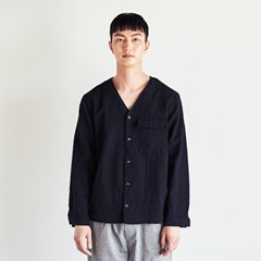 LINEN V-NECK SHIRTS BLACK