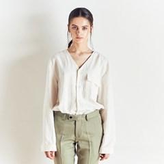 LINEN V-NECK SHIRTS WHITE