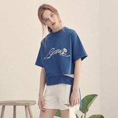TIED LOGO T-SHIRTS_BLUE