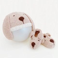 니팅키트- 신생아 강아지모자