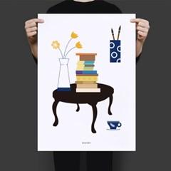 유니크 인테리어 디자인 포스터 M 독서4 책가도
