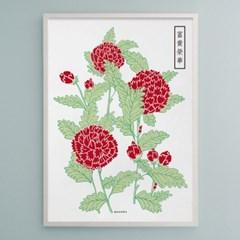 유니크 인테리어 디자인 포스터 M 모란 부귀영화