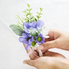 보라빛 블루&화이트 코스모스부토니에_(511912)