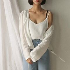 shirring sleeveless & cardigan set