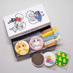 캐릭터 원형 손거울(패브릭지) 4타입 1세트