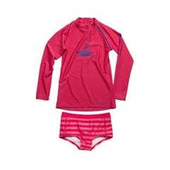 [세븐하벤] 아동래쉬가드 숏팬츠세트 핑크블루