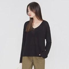 slit detail unbalance V-neck knit_(694340)