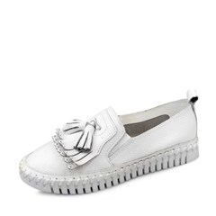 kami et muse Stitch white outsole leather loafers_KM17s377